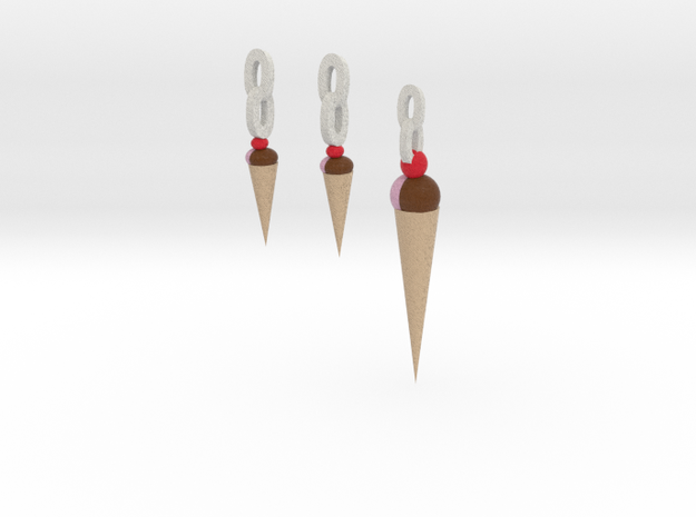 Ice Cream Pendant And Earrings 3d printed
