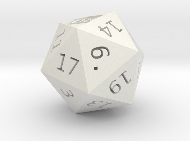 D20 Who Shrinked in White Natural Versatile Plastic