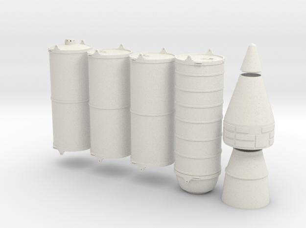HO 1/87 NASA space shuttle SRB sections in White Natural Versatile Plastic