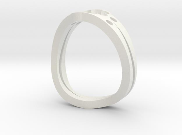 Lucky 7 Petal Flower Ring - SIZE 12 in White Natural Versatile Plastic