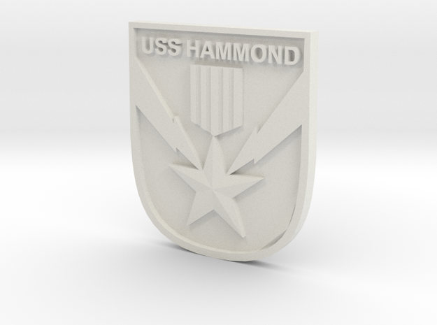 USS Hammond Logo in White Natural Versatile Plastic