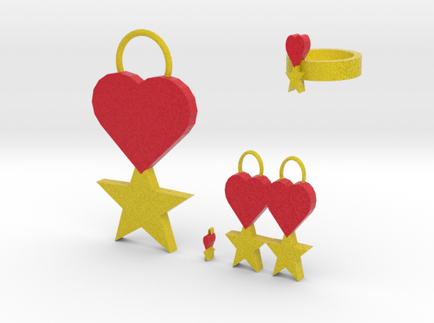 Star Heart Jewelry Set 3d printed