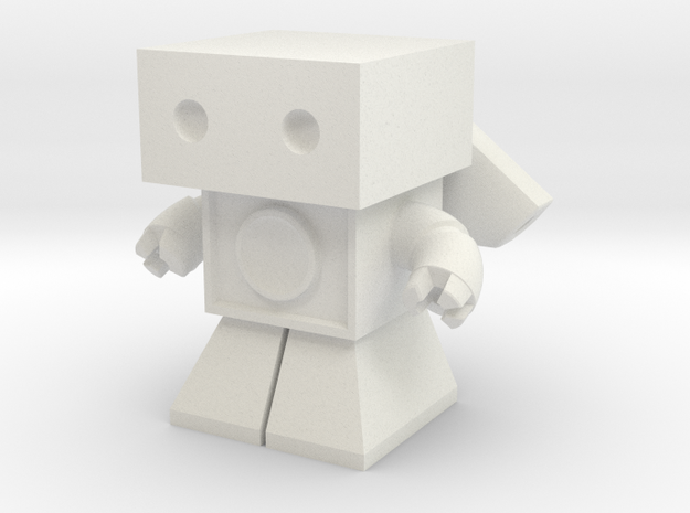 Sonic Boom Robot 1.45 inches tall  (remodeled) in White Natural Versatile Plastic