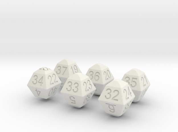 Lotto Dice(6x49) in White Natural Versatile Plastic