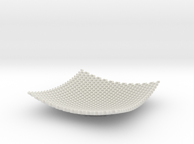 Square Bowl HoneyComb Mesh Structure Fuit bowl Key in White Strong & Flexible