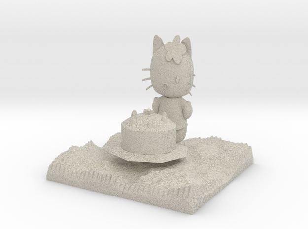 smaller Hello Kitty With Cake 3d printed