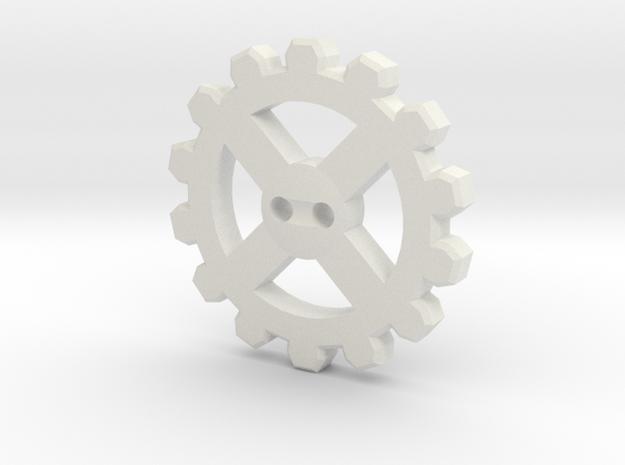 Cogwheel Button 02 in White Natural Versatile Plastic