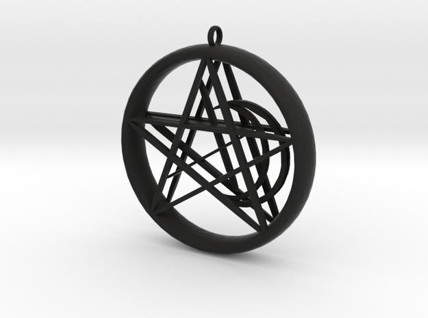 1.5in Pentacle Floating Moon n Star Pendant in Black Natural Versatile Plastic