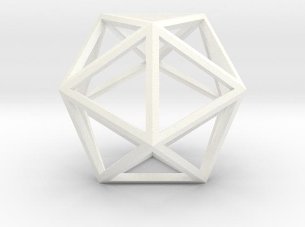 Icosahedron in White Processed Versatile Plastic