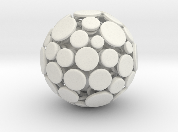 Patched Ball in White Natural Versatile Plastic