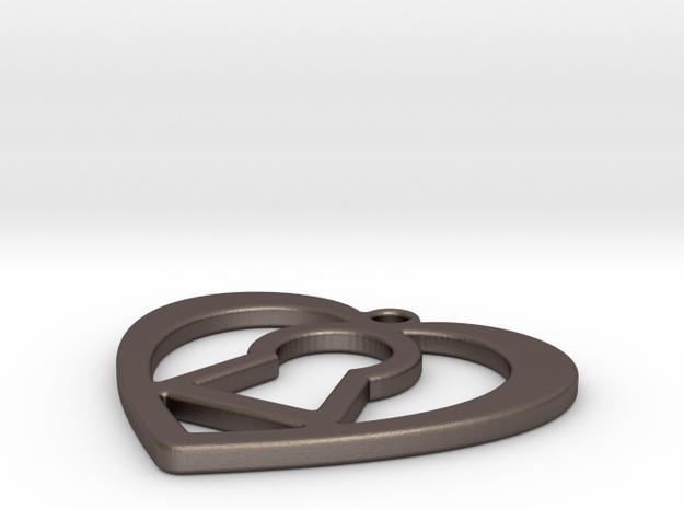 Heart Pendant in Polished Bronzed Silver Steel