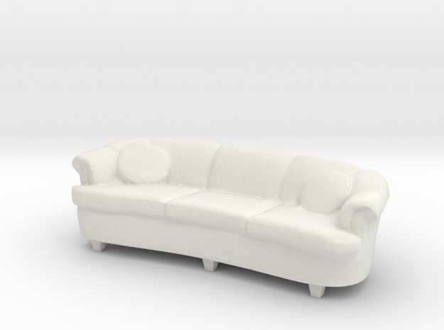 1:24 Curved Sofa in White Strong & Flexible