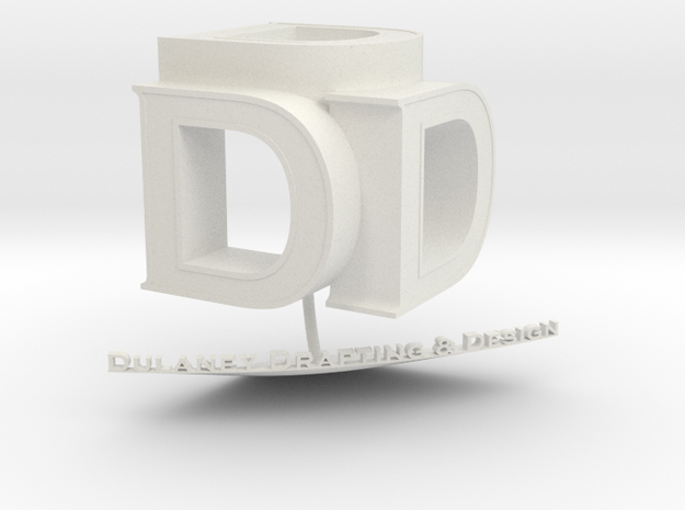 DDD 3D Logo in White Natural Versatile Plastic