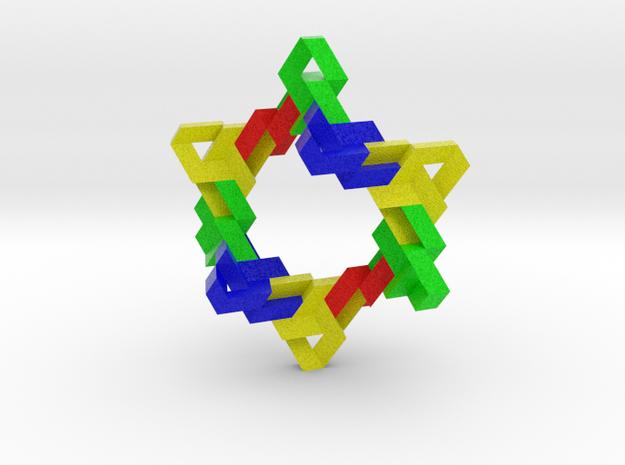 Ten Linked Trefoil Knots from Triangular Beam in Full Color Sandstone