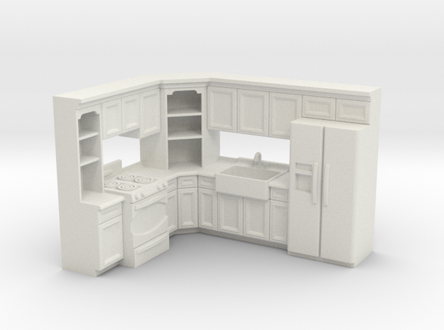 1:48 Farmhouse Kitchen I in White Strong & Flexible