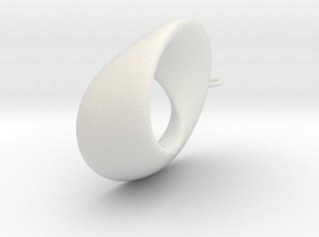 Mobius  - oval 4.5 cm long in White Natural Versatile Plastic