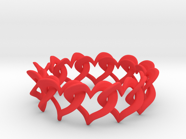 12 Hearts Chain Bracelet in Red Processed Versatile Plastic