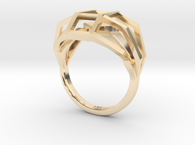 Geometry Caged Love Ring - My Heart Is In A Cage - in 14K Gold