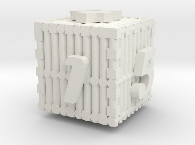 Bar Dice in White Natural Versatile Plastic