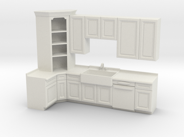 1:48 Farmhouse Kitchen A in White Strong & Flexible