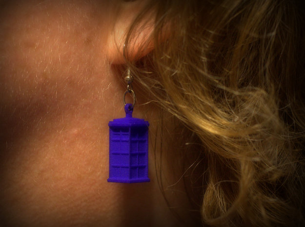 T.A.R.D.I.S. earrings 3d printed hooks not included
