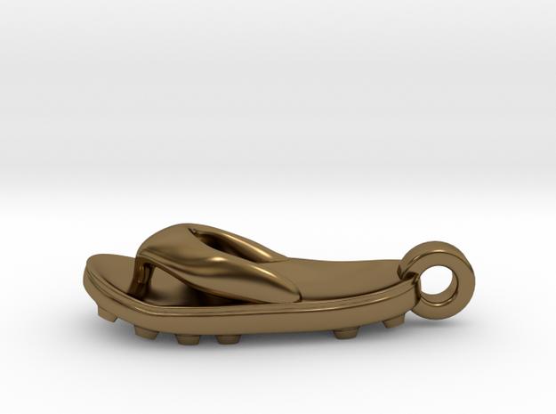 Soccer / football flipflop pendant 3d printed flipflop sandalPolished Bronze