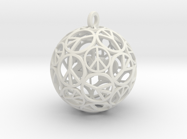 Peace Christmas Ornament  in White Strong & Flexible