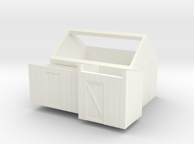 H0 logging - Small Sheds (3pcs) in White Processed Versatile Plastic