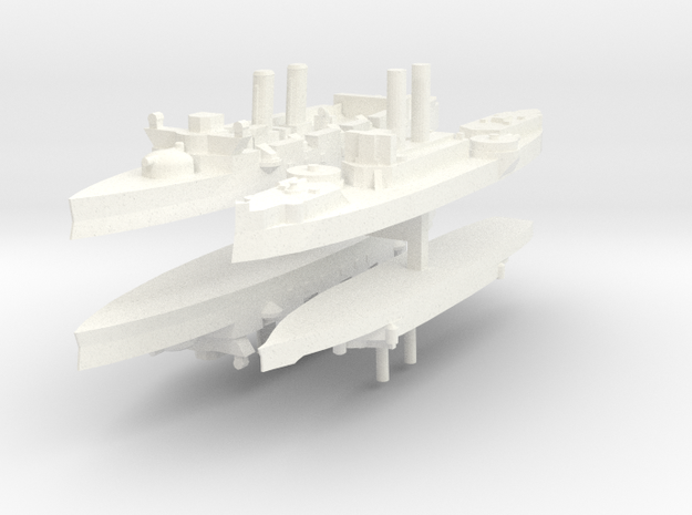 Span-Am Fleet 1:1800 (4 ships) in White Processed Versatile Plastic