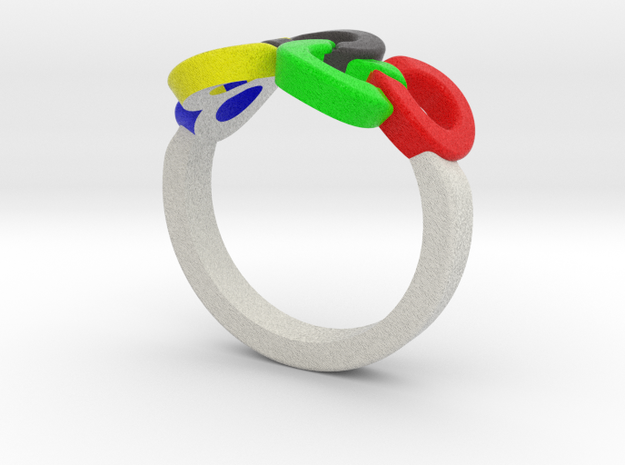 Olympic Ring-sz17 in Full Color Sandstone