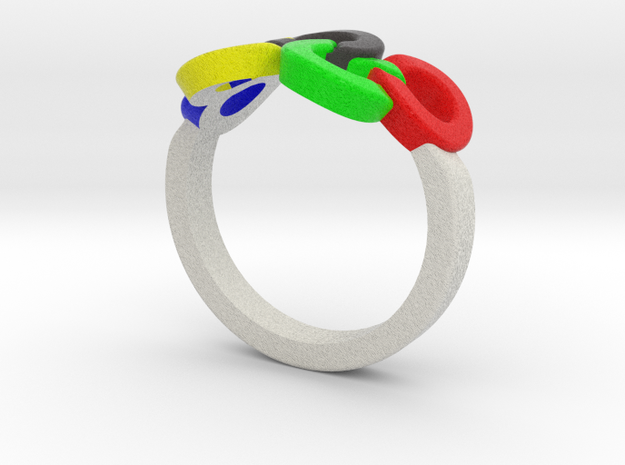 Olympic Ring-sz18 in Full Color Sandstone