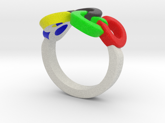 Olympic Ring-sz15 in Full Color Sandstone