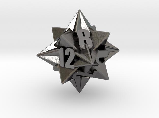 Icotetrhombic d12 die in Polished Nickel Steel