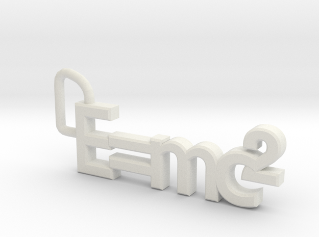 E = mc2 keyring in White Natural Versatile Plastic