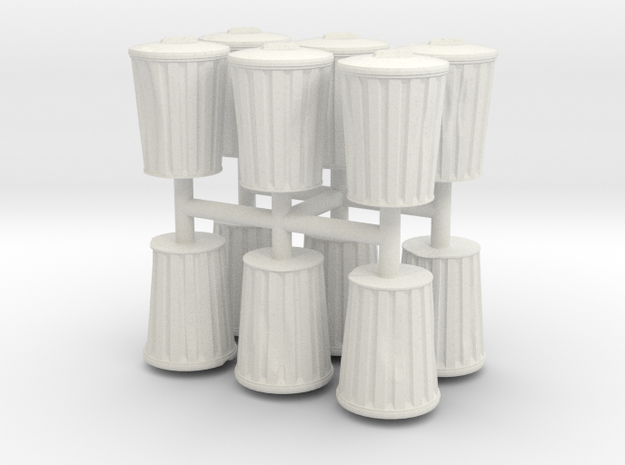 15mm DentedTrashCans in White Strong & Flexible