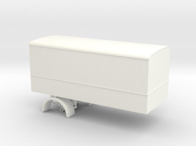 1:43 Single Axle Trailer  in White Processed Versatile Plastic