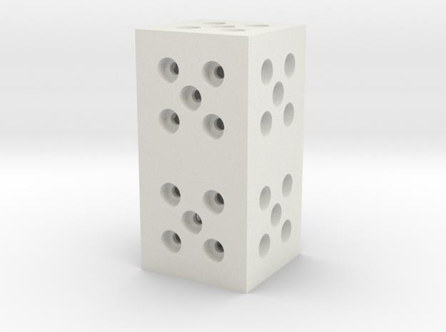 Building Block 1x2 in White Natural Versatile Plastic