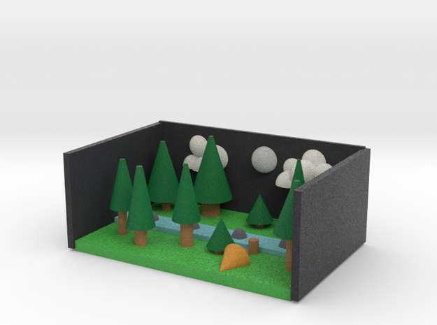Pine Forrest at night with clouds 3d printed