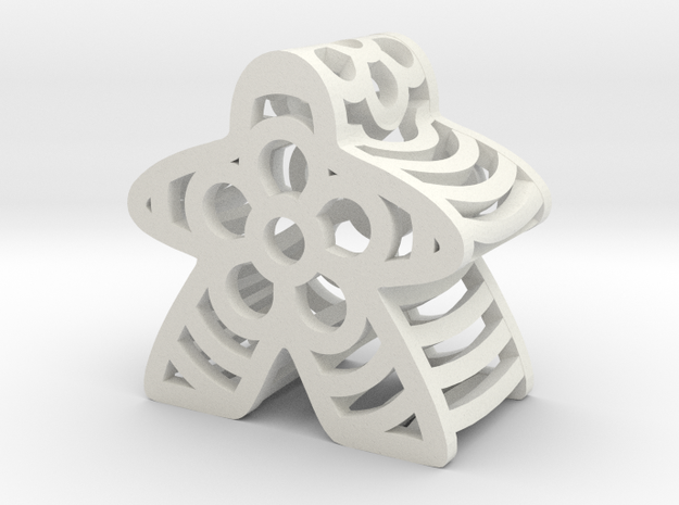 Flower Meeple in White Natural Versatile Plastic