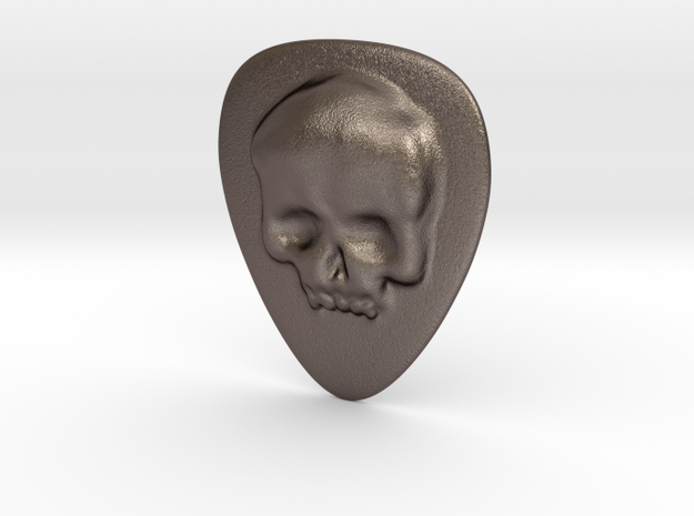 Skull Guitar Pick in Polished Bronzed Silver Steel
