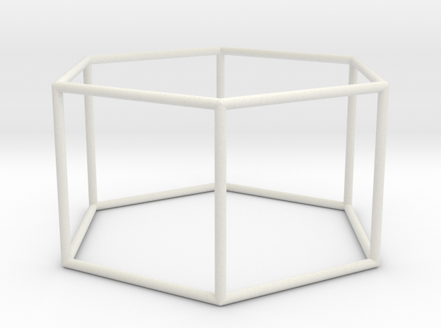 hexagonal prism 70mm in White Natural Versatile Plastic