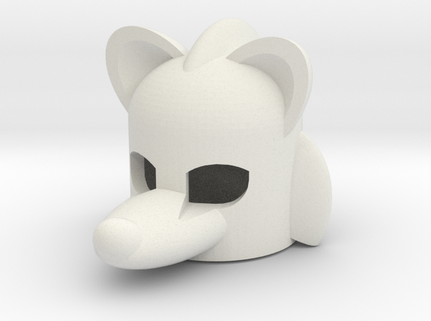 Rodentlike Helmet for Building Toy Figurine in White Natural Versatile Plastic