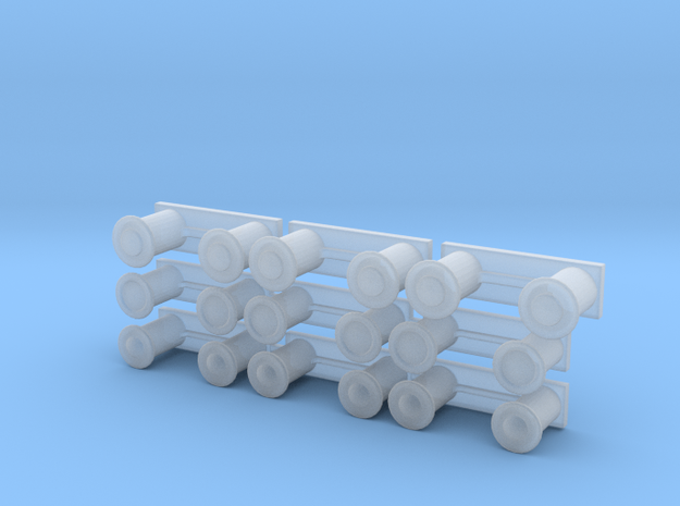 Bollards 1-72 in Smooth Fine Detail Plastic