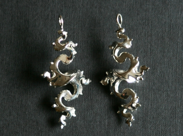 Dragon Earrings 4cm in Fine Detail Polished Silver
