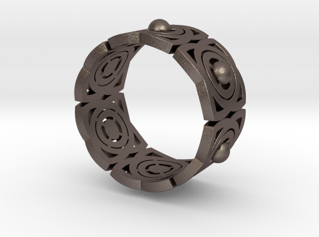 Archi band in Polished Bronzed Silver Steel