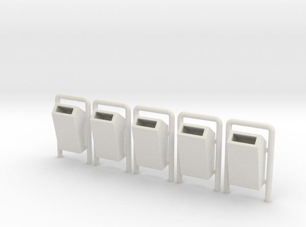 Mülleimer für Parks, 5x, Spur 0 / Trash bins 3d printed