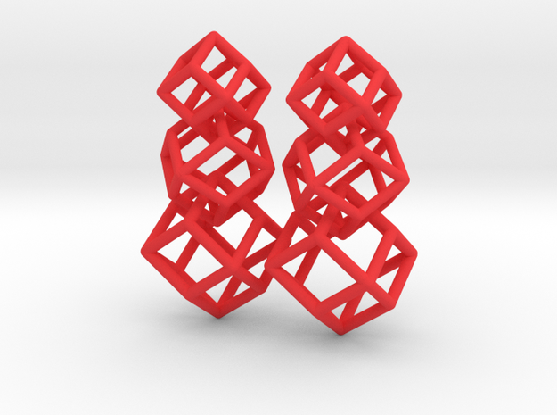 rhombic dodecahedron earrings 3d printed