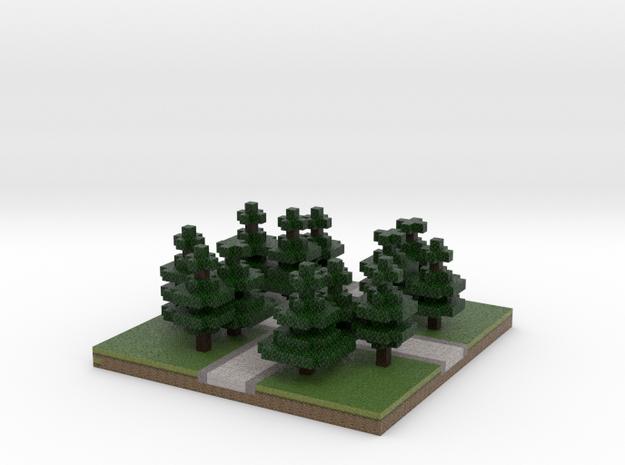 30x30 cross path (Pine trees) (1mm series) 3d printed