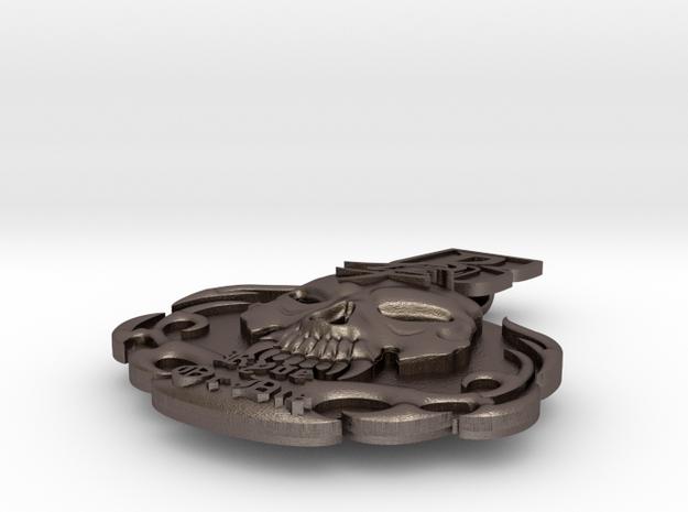 """Ruff Ryder"" Hayabusa pendant in Polished Bronzed Silver Steel"