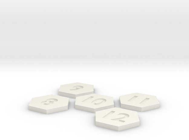 Number tiles 2of2 90mm in White Natural Versatile Plastic